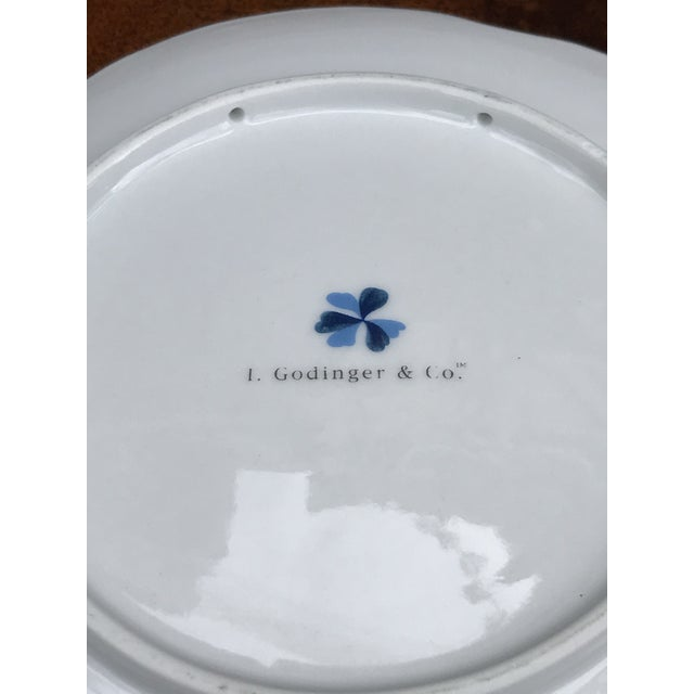 """Four pretty decorative blue and white vintage dessert plates in the """"Blue Belle"""" pattern by I. Godinger and Company...."""