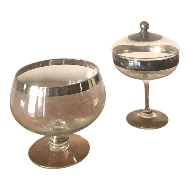 Dorothy Thorpe Silver Band Footed Compote and Bowl For Sale