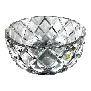 1980s Large Diamond Cut Crystal Bowl For Sale