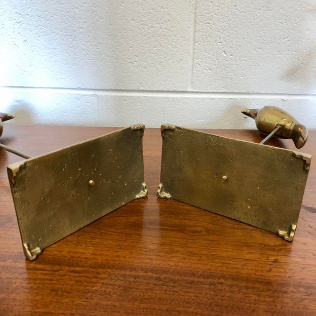Metal Vintage Brass Birds on Stands, a Pair For Sale - Image 7 of 8