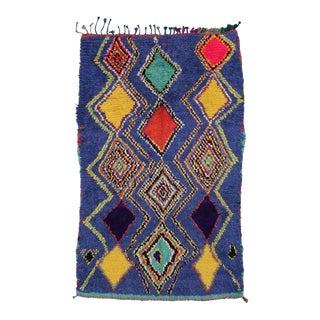 "Vintage Berber Moroccan Tribal Diamond Rug - 4'8"" X 7'3"" For Sale"