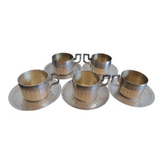 French Art Deco Silver-plated Coffee Cups and Saucers - Set of 10 For Sale