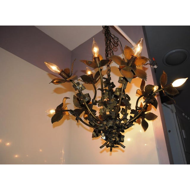 Brass Mid-Century Feldman Brutalist Floral Chandelier Attributed to Tom Greene For Sale - Image 8 of 8
