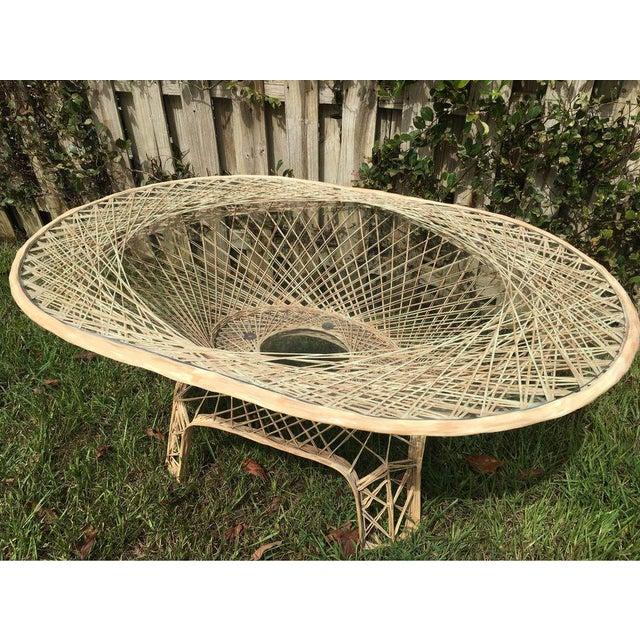 Boho Chic Vintage Natural Color Spun Fiberglass Table For Sale - Image 3 of 5
