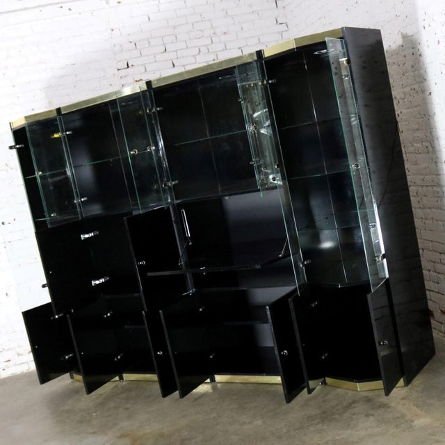 Italian Black Laminate Glass and Brass 4 Piece Modular Freestanding Wall Unit Display Cabinet For Sale - Image 5 of 11