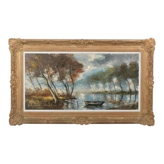 Waterfront Landscape With Boat For Sale
