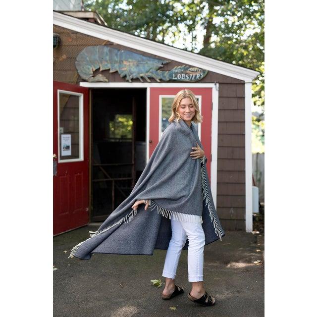 Contemporary Contemporary Merino Wool Collection Indigo Throw For Sale - Image 3 of 5