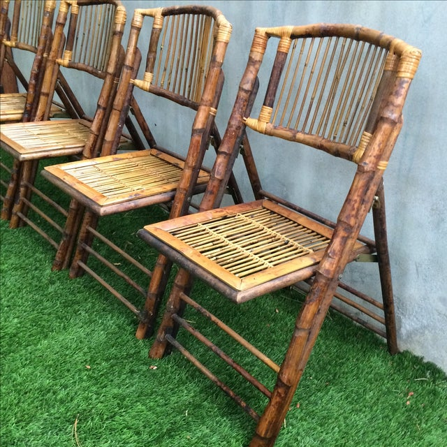 Bamboo Folding Chairs - Set of 4 - Image 5 of 11