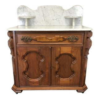 Antique Victorian Walnut Marble Top Washstand Circa 1900 For Sale