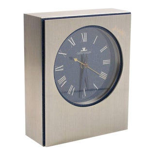 Jaeger LeCoultre Brushed Stainless Steel Faux Lapis Enamel Dial Table Desk Clock For Sale