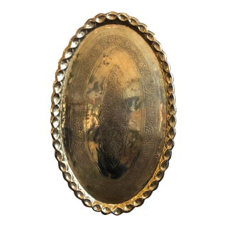 Large Oval Brass Tray For Sale