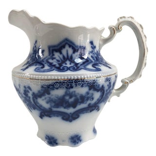 Antique English Flow Blue Water Pitcher For Sale