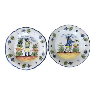 Vintage Jay Willfred Portugal Hand Painted Porcelain Plates - a Pair For Sale