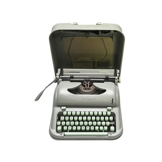 Hermes Media 3 Typewriter in Excellent Working Condition- Rare Mint Green With Hard Shell Carrying Case For Sale