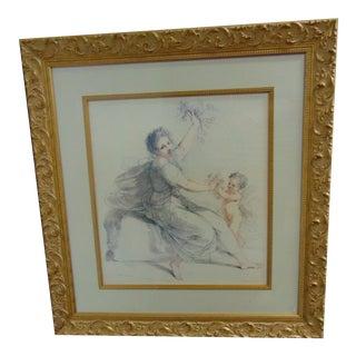 F Bartolozzi Classical Style Figural Print / Gold Gilt Frame For Sale