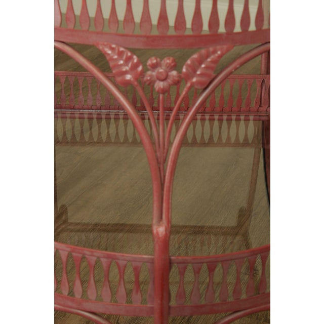 Light Pink Salterini Vintage Ornate Wrought Iron 2 Tier Bar Cart For Sale - Image 8 of 13
