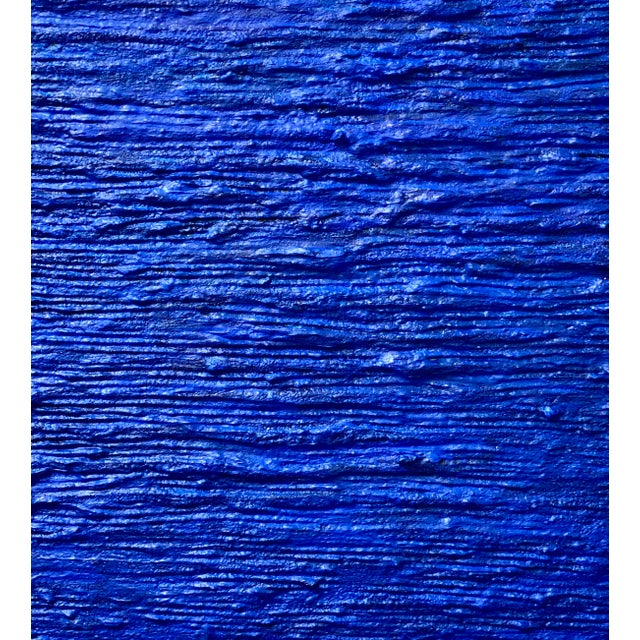 """Abstract Cobalt Blue Acrylic Mixed Media Panting, """"Dive In"""" For Sale - Image 3 of 5"""