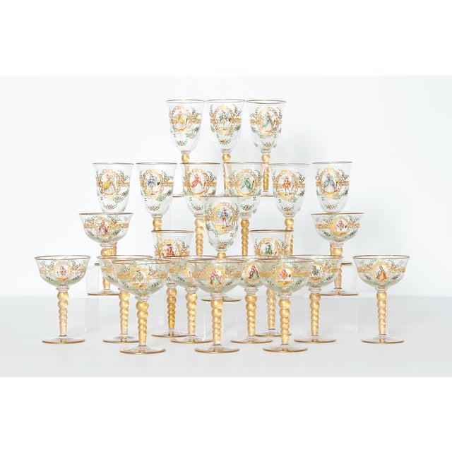 Enameled Venetian Glass Stemware / 23 Piece Group For Sale - Image 12 of 12