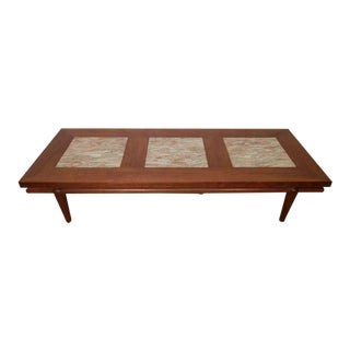Rare Mid-Century Modern Coffee Table with Marble Inserts by John Widdicomb For Sale