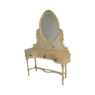 French Louis XVI Style Vintage Painted Vanity With Mirror For Sale