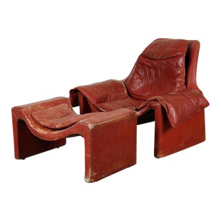 Vintage Vittorio Introini for Proposals Distressed Rich Red P60 Leather Lounge Chair and Stool For Sale