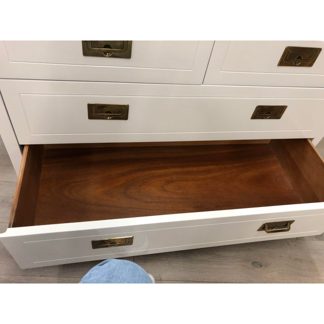 White Pair of Campaign Style Chest by Henredon Home Furniture For Sale - Image 8 of 9