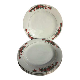 Vintage Late 20th Century China Poinsettia & Ribbon Christmas Dinner Plates - Set of 4 For Sale