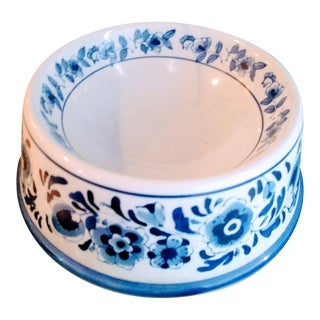 Large Blue and White Chinoiserie Ceramic Dog Food Bowl For Sale