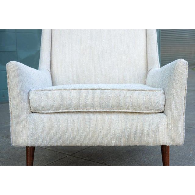 Fabric 1950s Mid Century Modern Upholstered Lounge Chair For Sale - Image 7 of 11