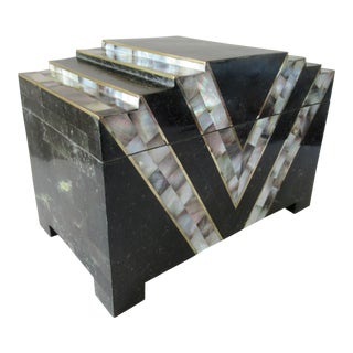 Monumental Maitland Smith Box Tessellated Marble & Abalone W/Brass Inlay For Sale