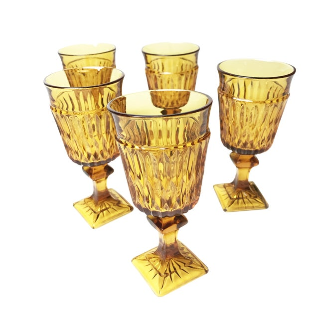 Vintage Mid Century Amber Indiana Glass Mt. Vernon Water Goblets - Set of 5 For Sale