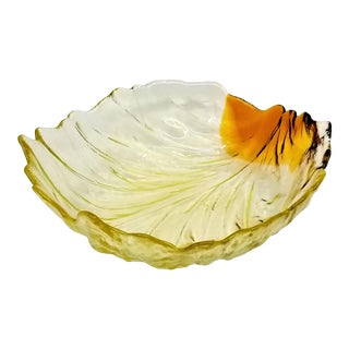 Vintage 1960s Scandinavian Glass Cabbage Leaf Decorative or Salad Bowl - Amber and Yellow For Sale