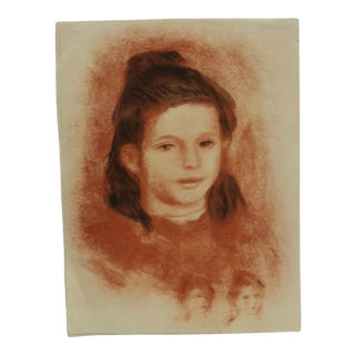 """20th Century Original Drawing on Paper, """"Brown Haired Girl"""" - Artist Unknown For Sale"""