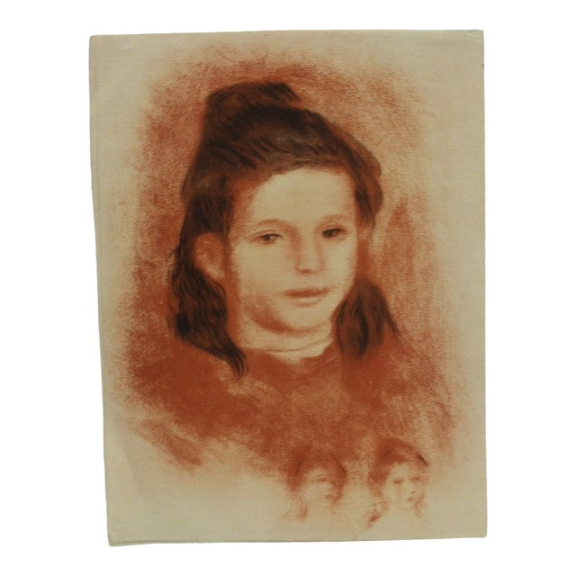 "20th Century Original Drawing on Paper, ""Brown Haired Girl"" - Artist Unknown For Sale"