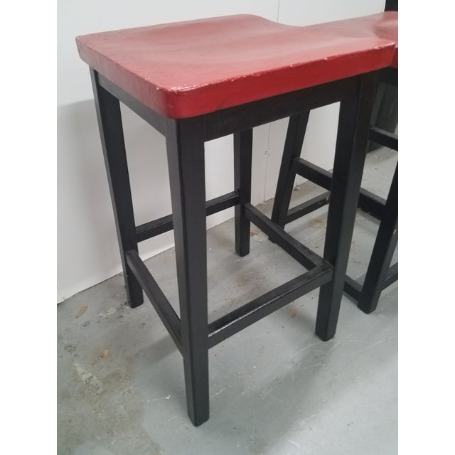 Two Vintage English Wooden Stools With Red Tops For Sale - Image 11 of 13