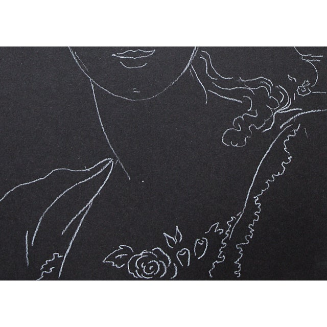 """2010s Figurative Sarah Myers """"Woman With an Urn of Flowers"""" White Charcoal Drawing For Sale - Image 5 of 9"""