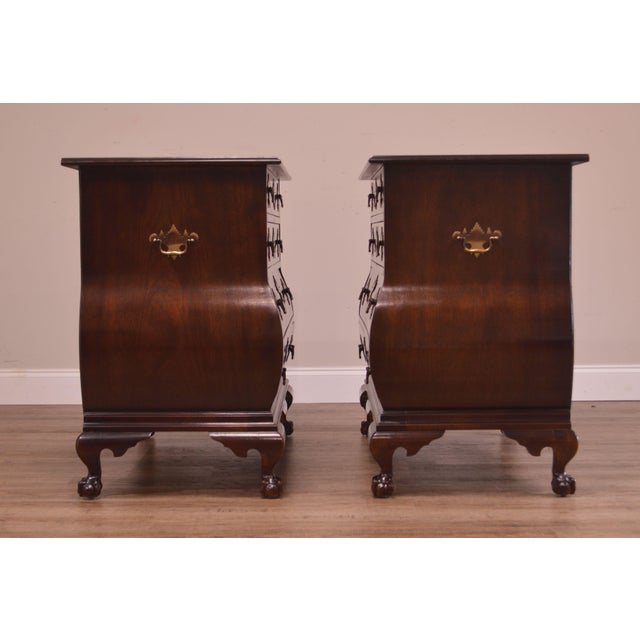 Metal Chippendale Style Kettle Base Pair Mahogany Bombe Claw Foot Chests For Sale - Image 7 of 12