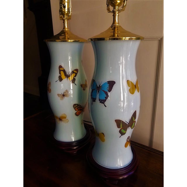 2010s Hand Designed Decoupaged Butterfly Glass Lamps With Blue - a Pair For Sale - Image 5 of 7
