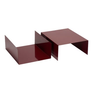 Pair of 1960s Aluminum Paper Trays or Bookends Refinished in Wine Red For Sale