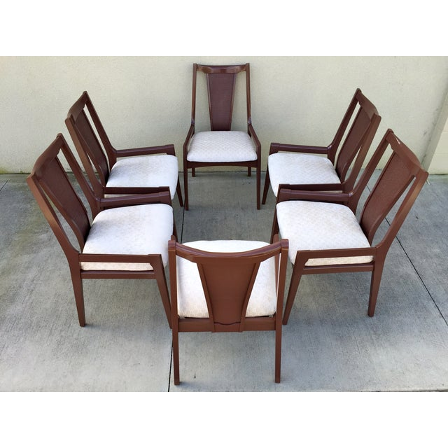 High Back Lacquered Dining Chairs - Set of 6 - Image 3 of 11