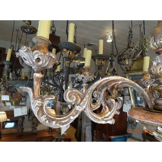 Mid-Century Italian Carved Wood Chandelier For Sale - Image 11 of 13