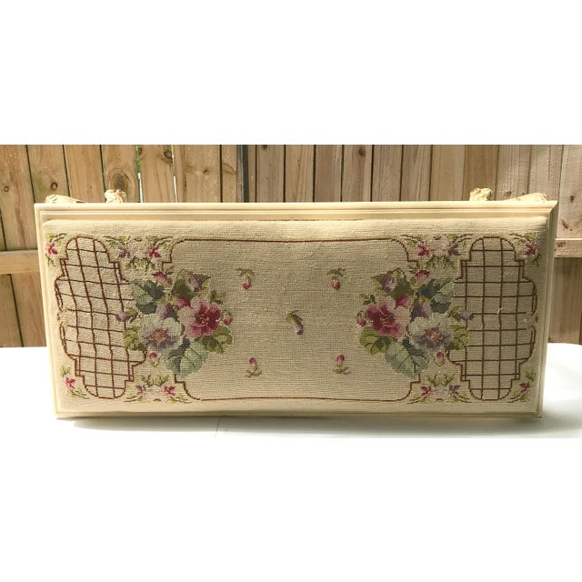 Vintage French Provincial Bench with Needlepoint Fabric For Sale - Image 4 of 9