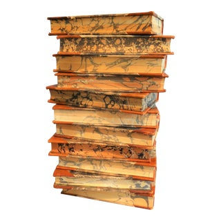 Decorative Leather Books, Set of 11, Marble Boards For Sale