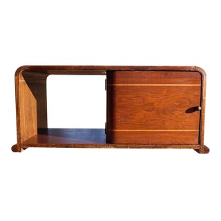 Vintage Walnut Art Deco Waterfall Table Top Petite Mini Bar Liquor Cabinet For Sale