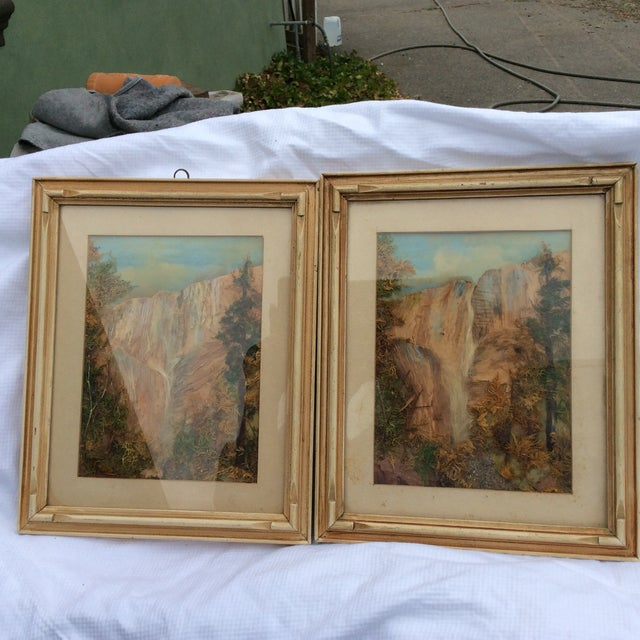 Late Victorian Moss Work Yosemite Pictures - A Pair For Sale - Image 5 of 6