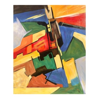 Large Constructivist Abstract in Saffron and Blue For Sale