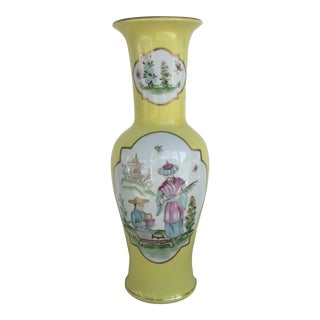 Chinoiserie Yellow Porcelain Vase For Sale