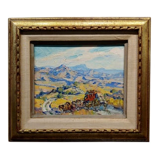 Marjorie Reed -Stage Coach Crossing the Old West - Oil Painting For Sale