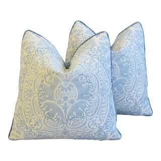 "Blue & White Quadrille Linen & Romo Velvet Feather/Down Pillows 18"" Square - Pair"