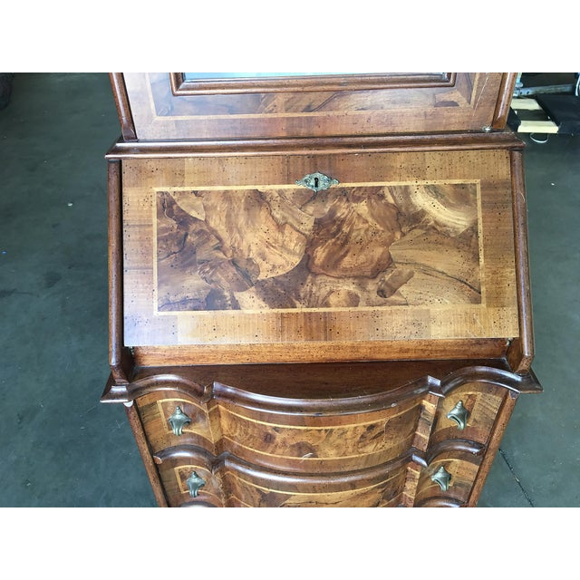 Wood Modern Neo Classic Rococo Curio Display Case & Secretary Desk For Sale - Image 7 of 9